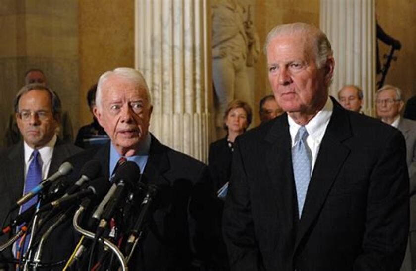 Former President Jimmy Carter and former Secretary of State James A. Baker III