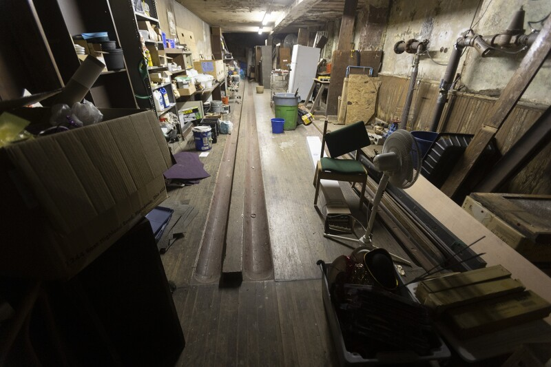 Old duckpin alleys being used for storage.