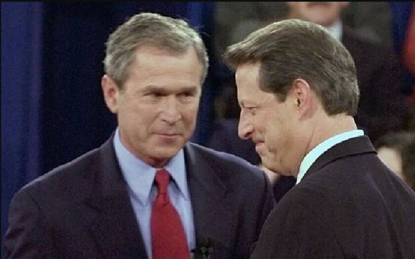 George W. Bush and Al Gore during 2000 presidential campaign, the result of which would ultimately be decided by the US Supreme Court.