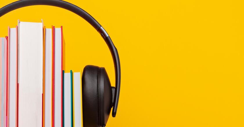 Set of books with headphones